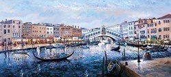 Twilight, Ponte Di Rialto  by Henderson Cisz - Hand Finished Limited Edition on Canvas sized 42x19 inches. Available from Whitewall Galleries
